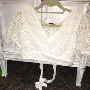 Express White crop shirt